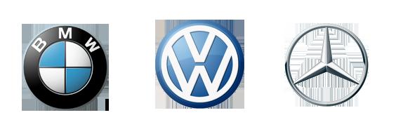 Logo BMW, Volkswagen et Mercedes
