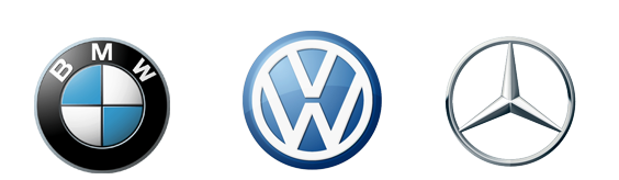 Logo BMW, Volkswagen and Mercedes